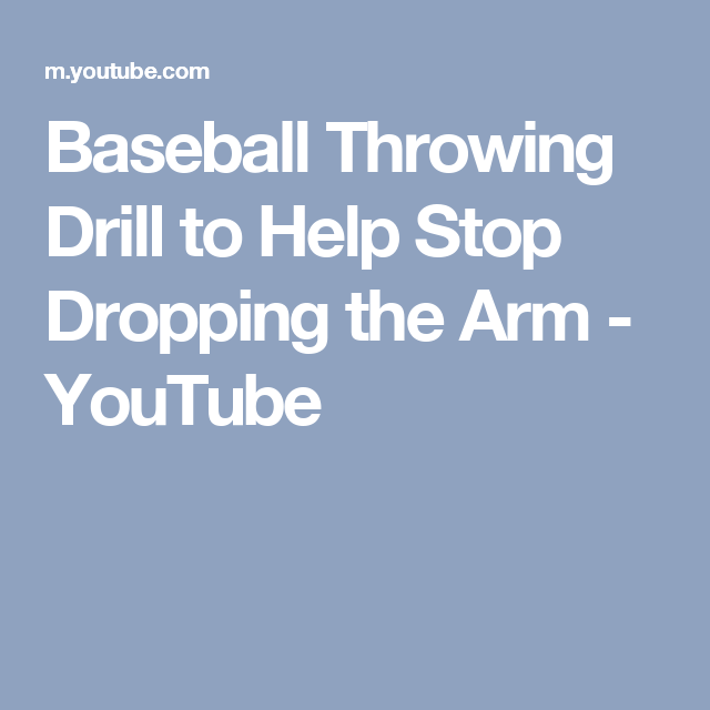 Baseball Throwing Drill to Help Stop Dropping the Arm - YouTube