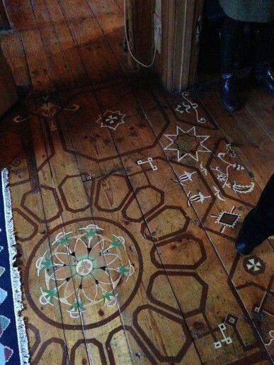 Hand painted wood floor
