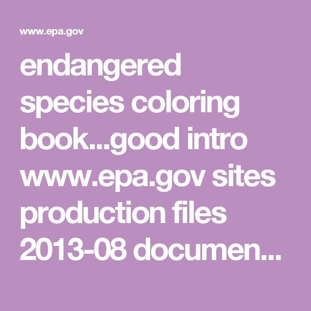 Endangered Species Coloring Bookgood Intro Epagov Sites Production