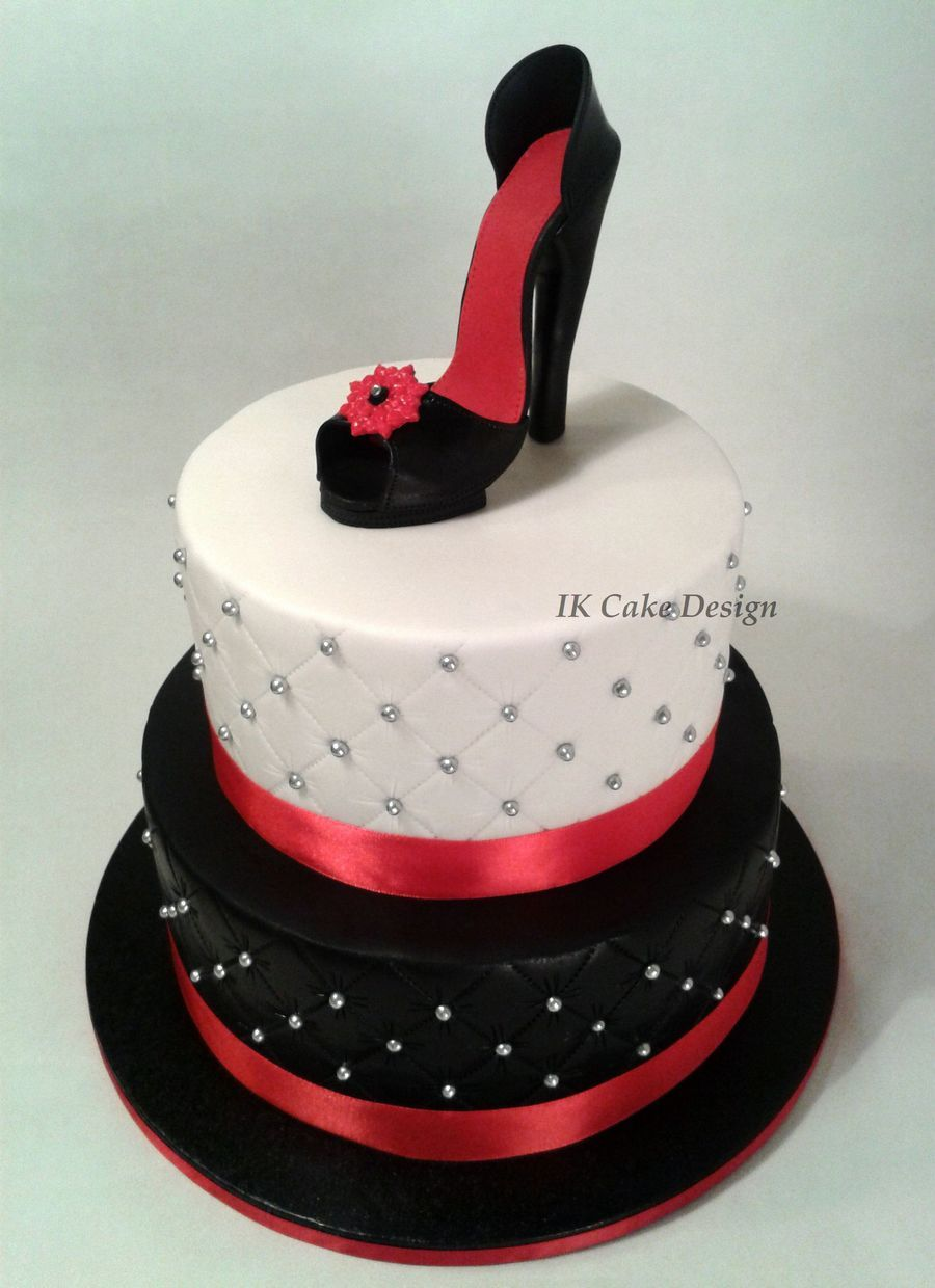 Cake Decorations Silver Shoes : black and white quilted cake topped with a red and black ...