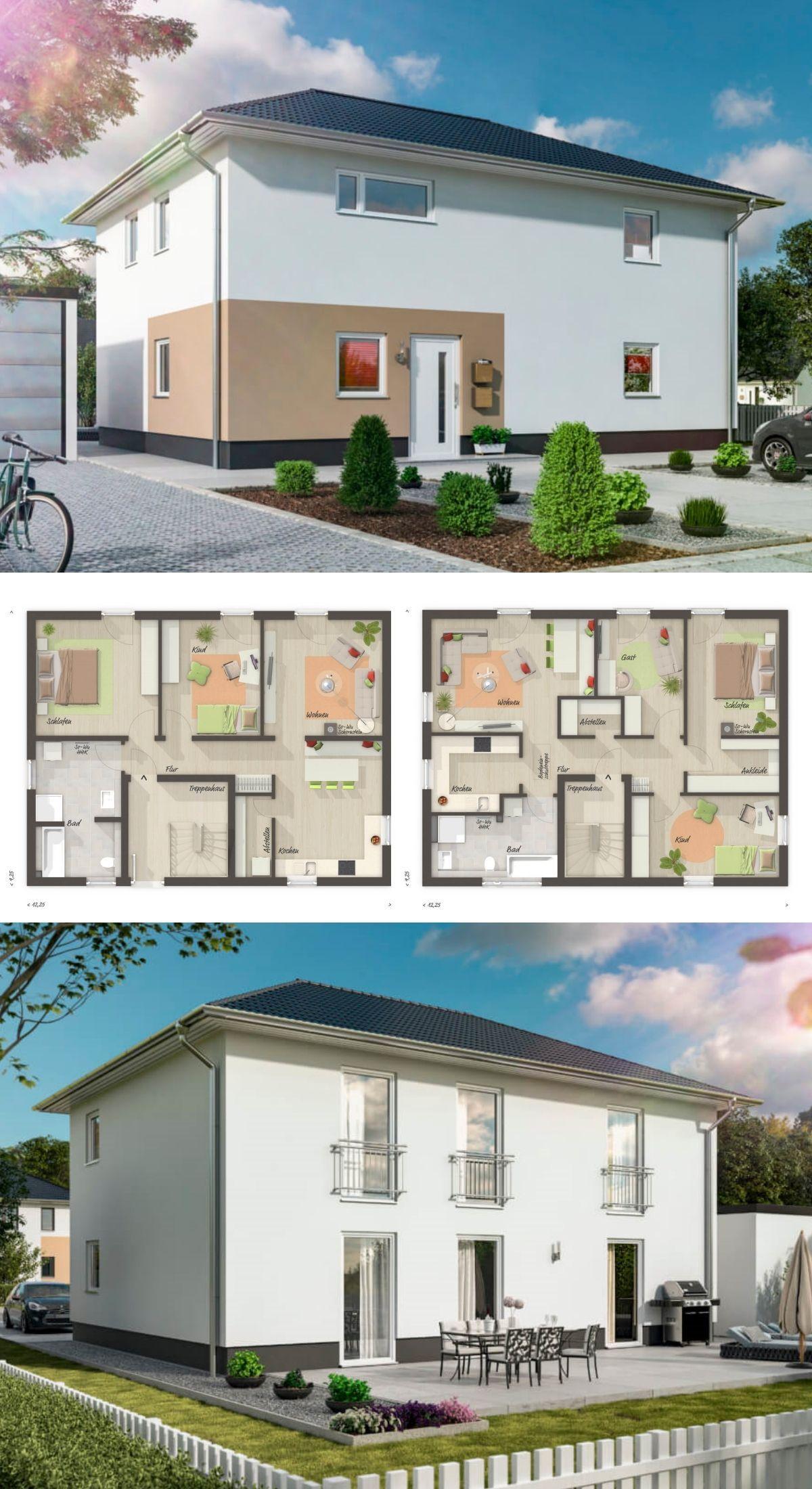 Modernes Zweifamilienhaus Grundriss mit Einliegerwohnung