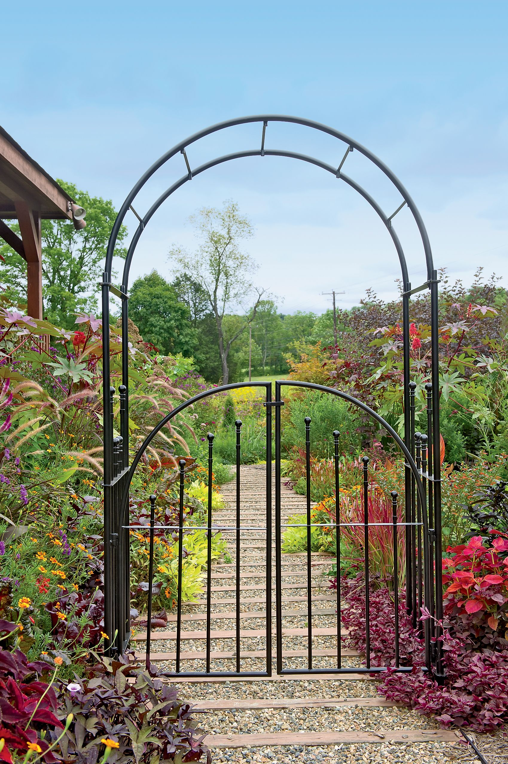 Metal garden arbors and trellises arbor with gate