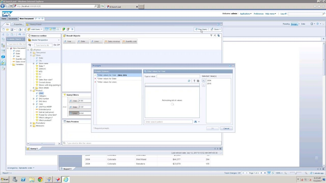 SAP Business Objects Online Training About Promts Sap