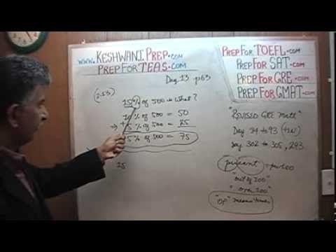 Teas V Math Day 13 P63 Percentage Problems Teas V