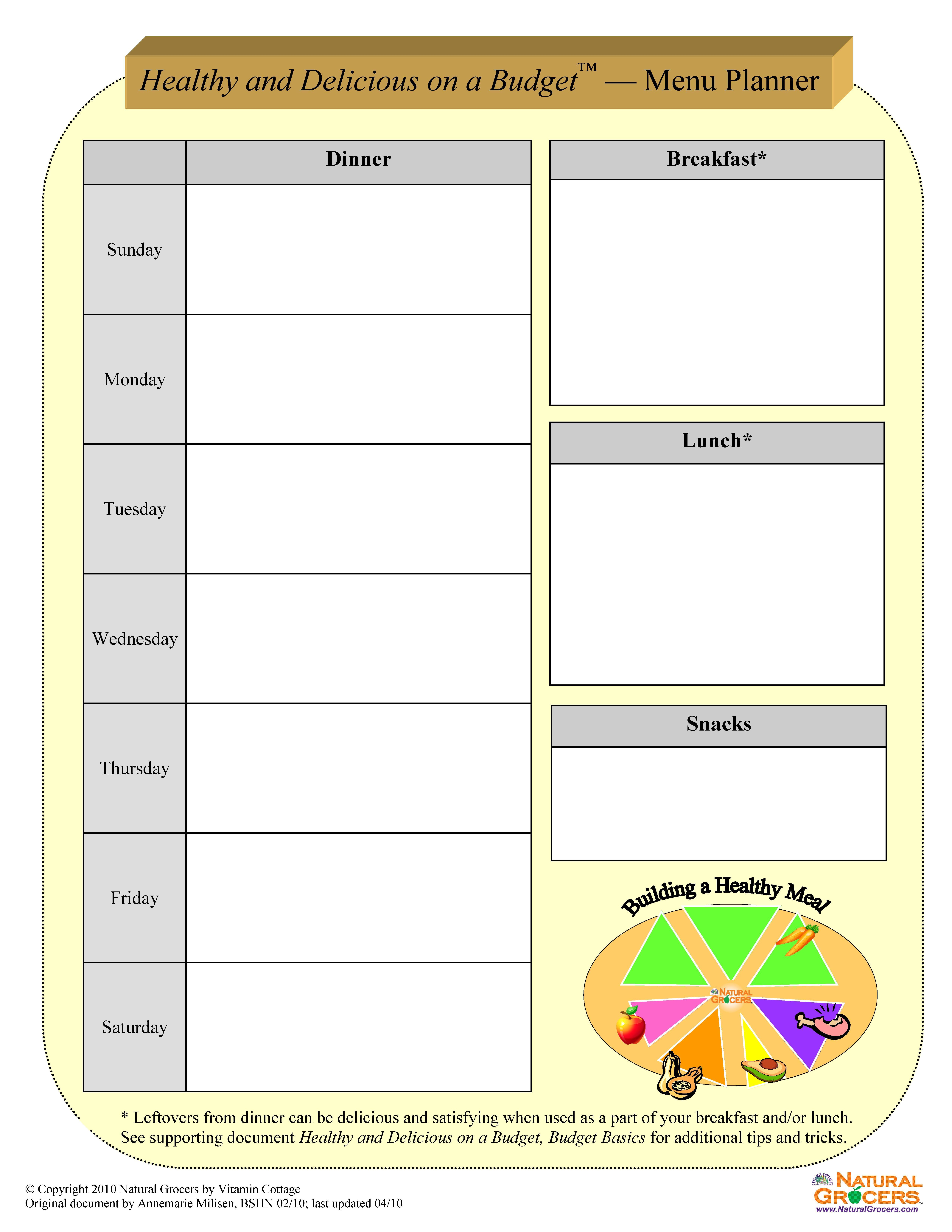 Eat Healthy And Delicious Menu Planning Worksheets Print
