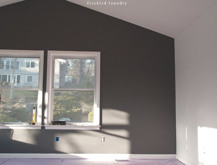 Charcoal grey feature wall love paint love for Grey feature wallpaper bedroom