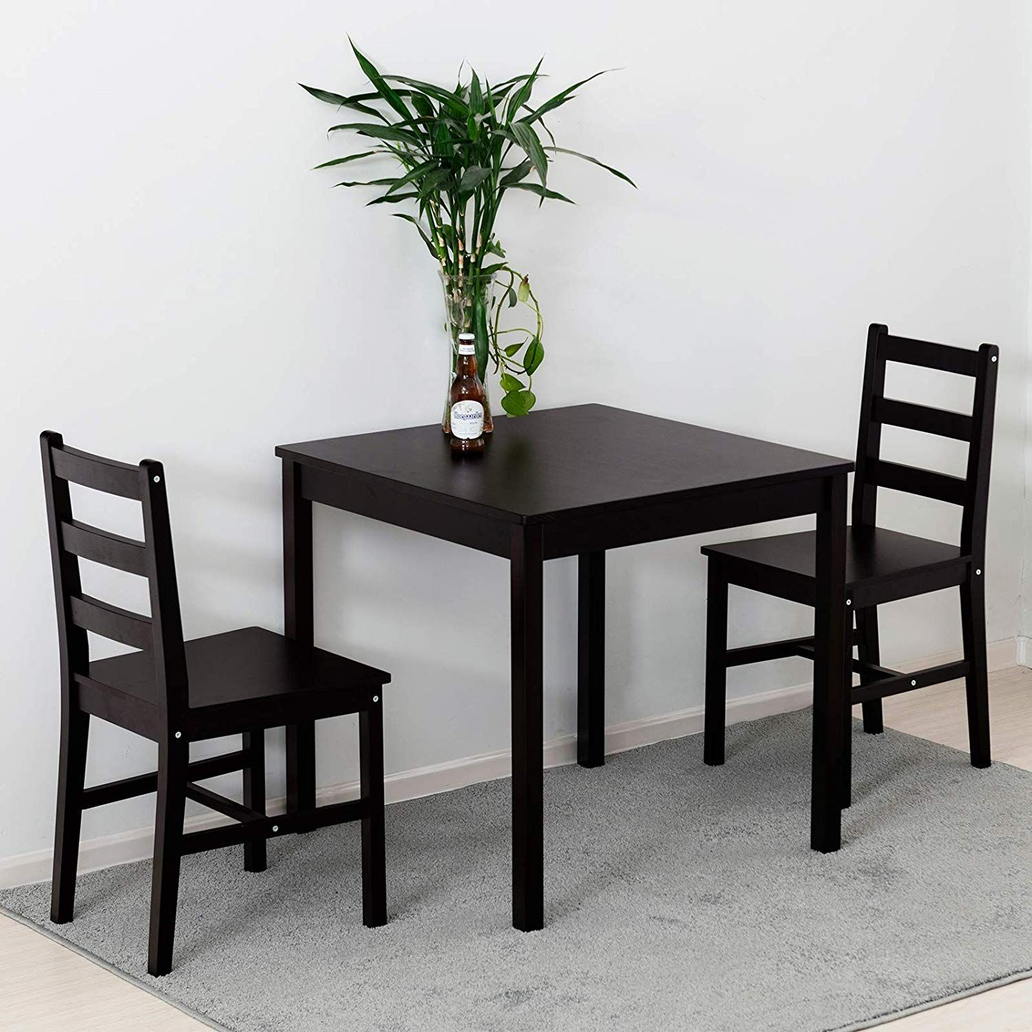 Mecor 3 Pc Wood Dining Set Wooden Kitchen Table Set With 2 Chairs