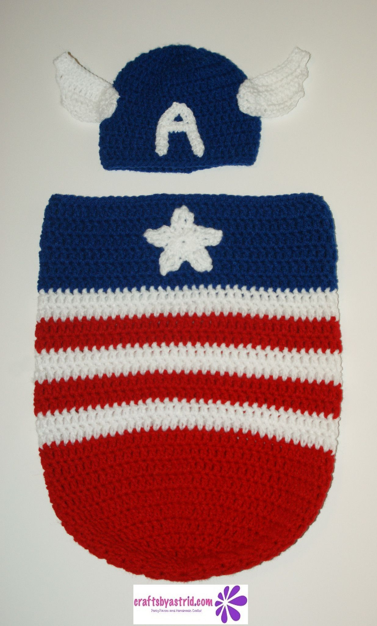 Captain America Crochet Baby Cocoon & Hat | Crochet Things ...