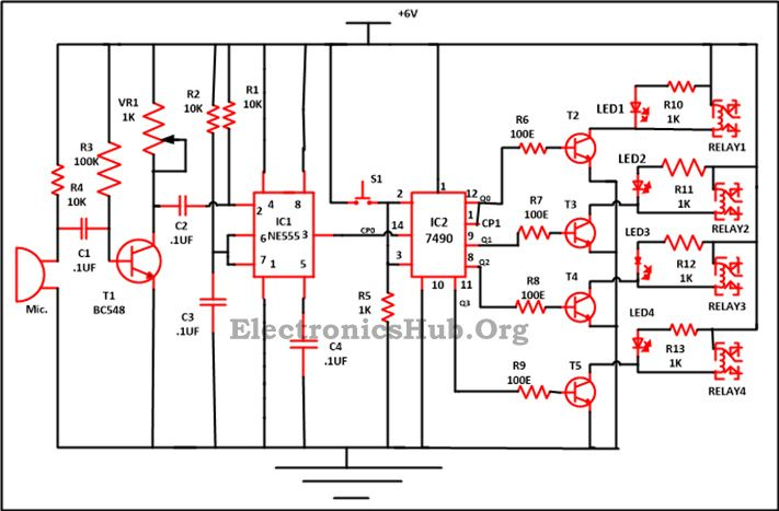 9 way clap switch circuit electronics pinterest circuit rh pinterest com