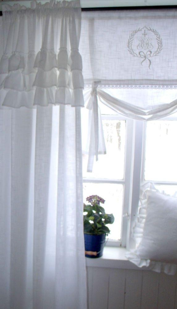 carol wei vorhang gardine 120x240 volant landhaus shabby chic vintage curtain wei e vorh nge. Black Bedroom Furniture Sets. Home Design Ideas