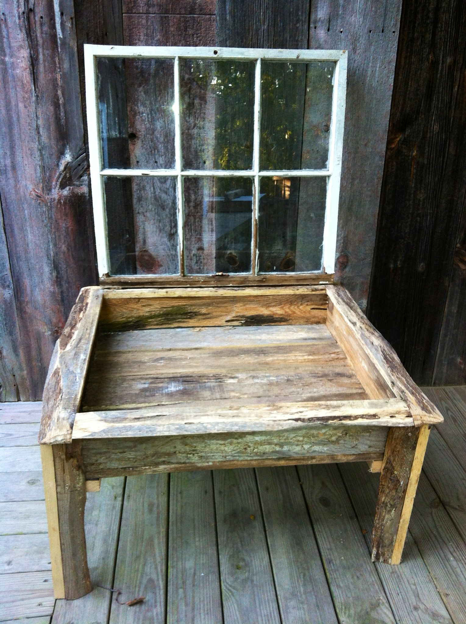 Coffee table with salvage window frame lid I want to make