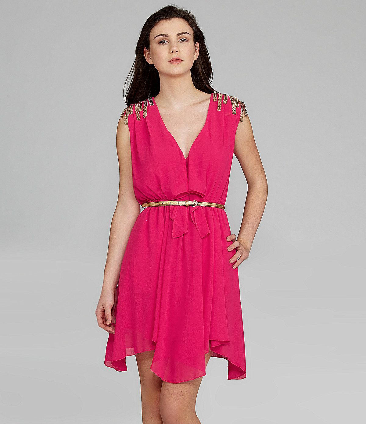Xoxo vneck belted dress dillards outfits pinterest