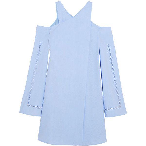 Zeus+Dione Anemone cold-shoulder wrap-effect cotton-poplin mini dress (6,580 MXN) ❤ liked on Polyvore featuring dresses, wrap dress, blue mini dress, cutout shoulder dresses, short blue dresses and short wrap dress