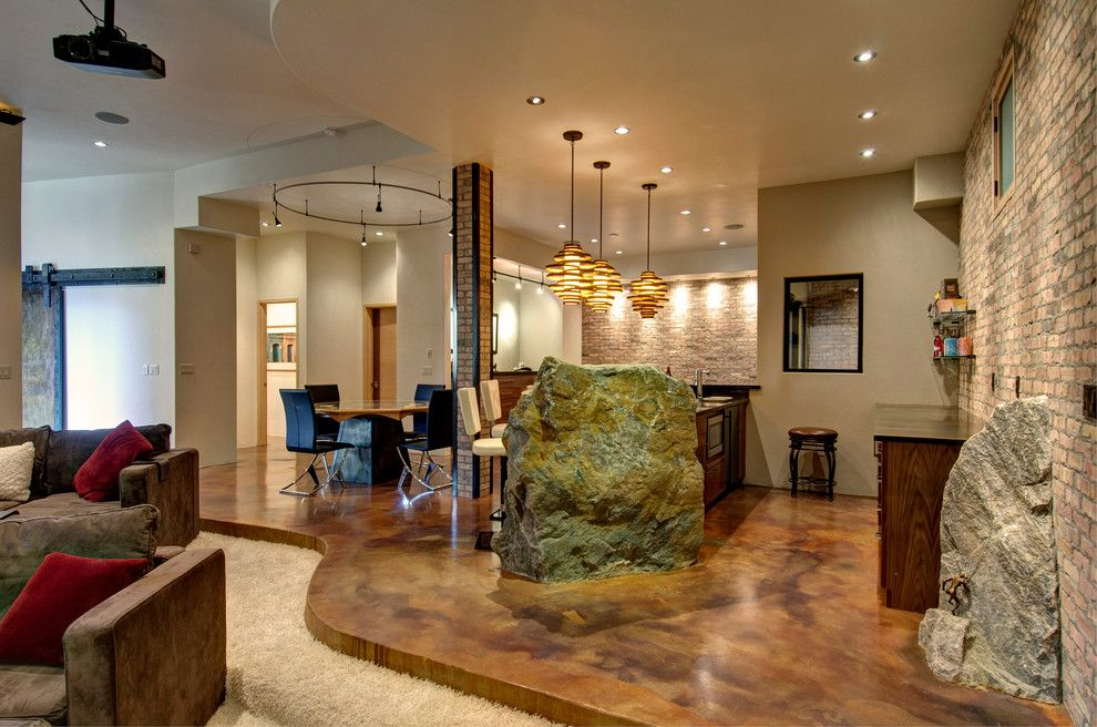 Concrete Floors in Homes Basement Contemporary with Boulders Brick