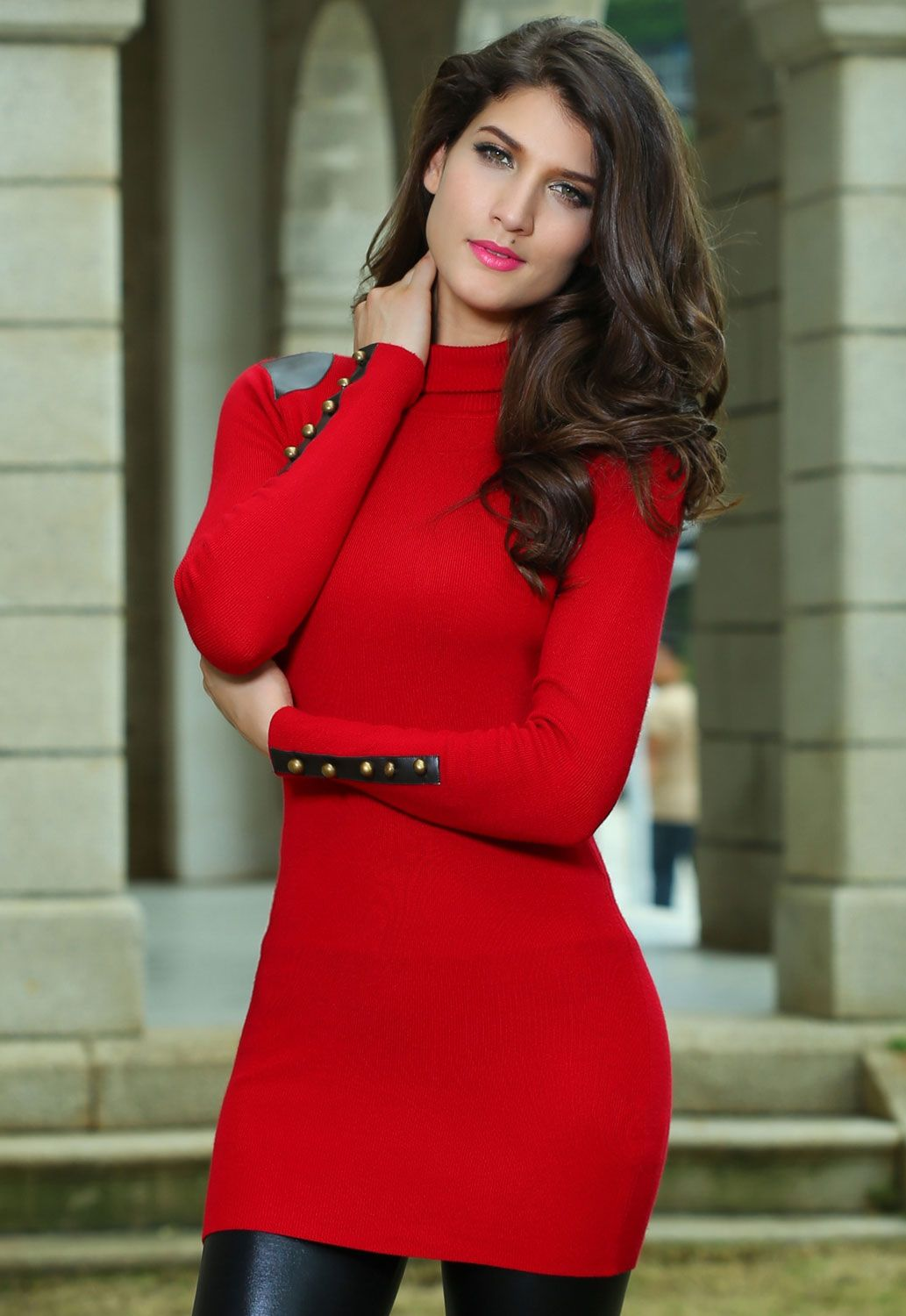 Red sweater dress and black leather leggings - perfect holiday ...
