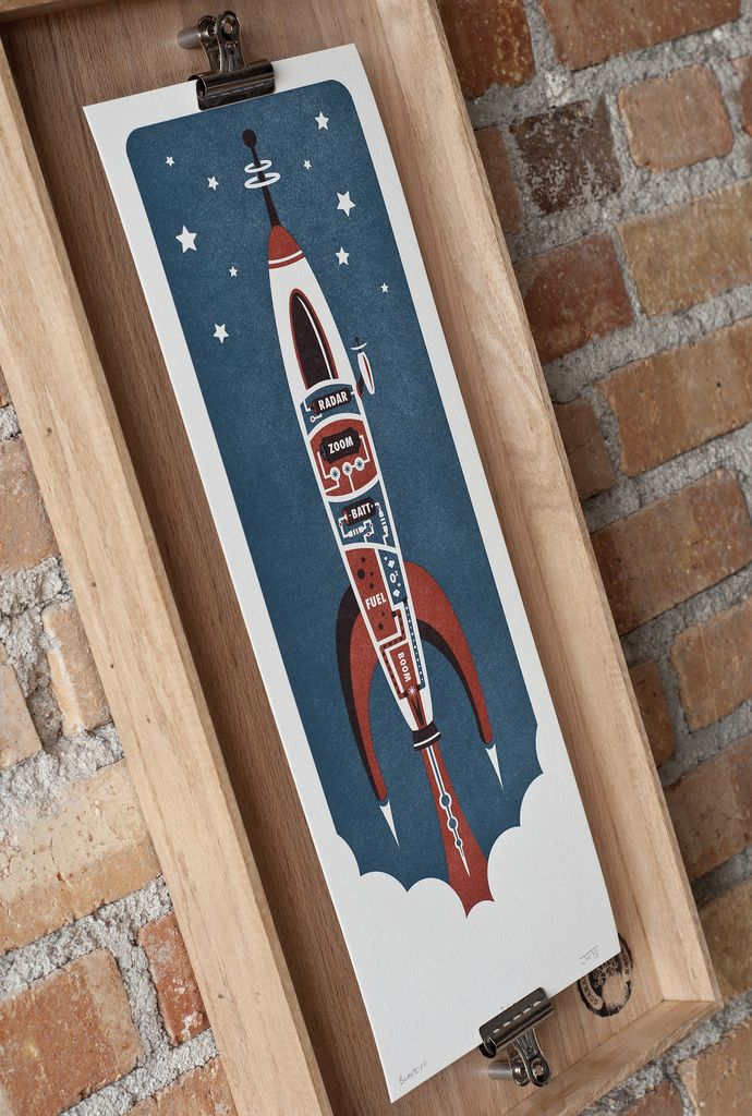 Unique framing idea- wooden tray,  mounted bull clips, plus artwork. This is Blastoff by Running Doves Press