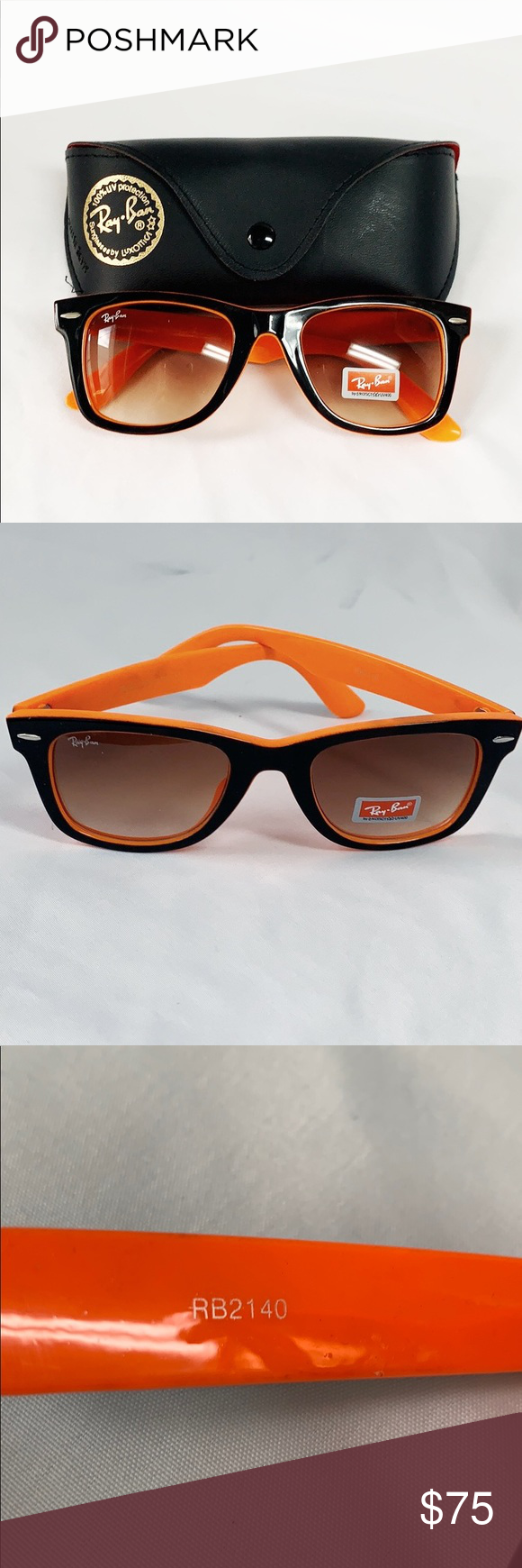 Ray Ban Rb2140 Orange Black Sunglasses New Ray Ban Rb2140 Sunglasses Uv 400 Orange And Black With Brown Tone Lens In 2020 Black Sunglasses Sunglasses Orange Black