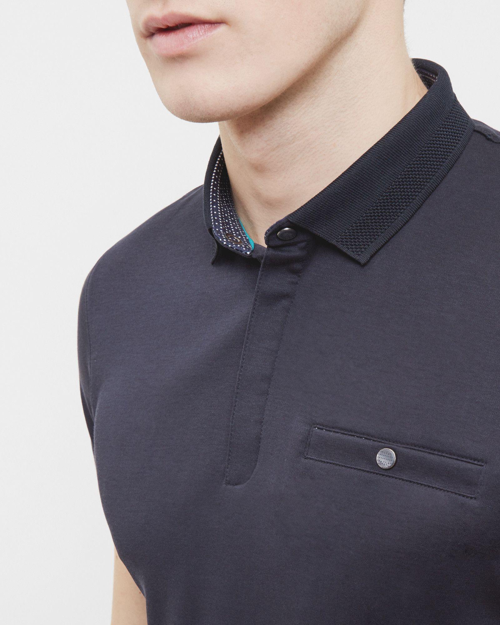 b0f95ac71fe2f Flat knit collar cotton polo shirt - Navy