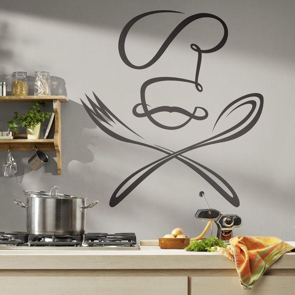 Chef cuchara y tenedor - VINILOS DECORATIVOS | Decora | Pinterest ...
