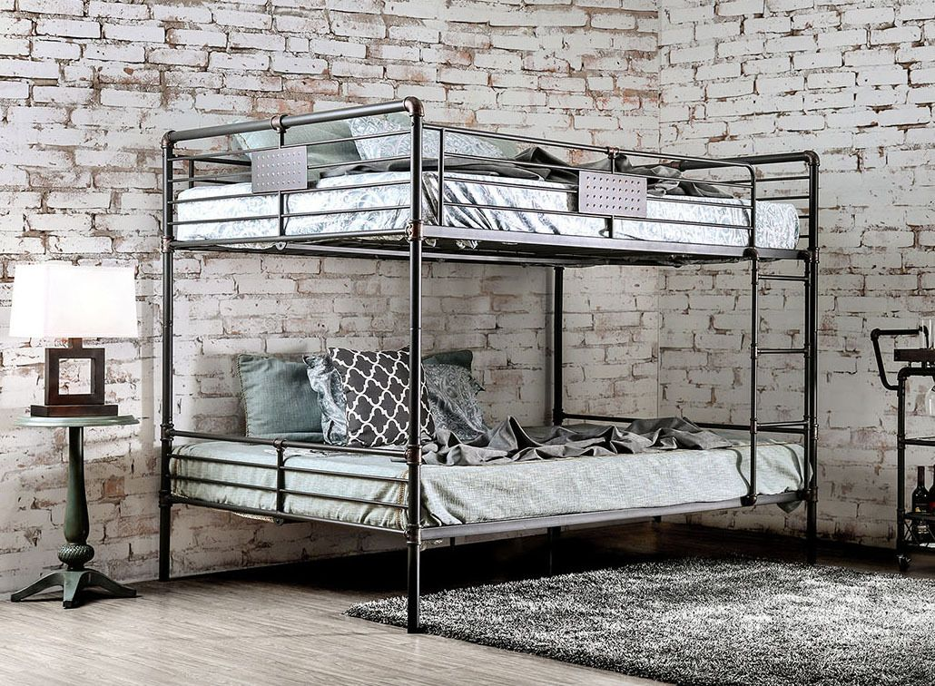 Industrial Piping Queen over Queen Metal Bunk Bed | Industrial Bunk ...