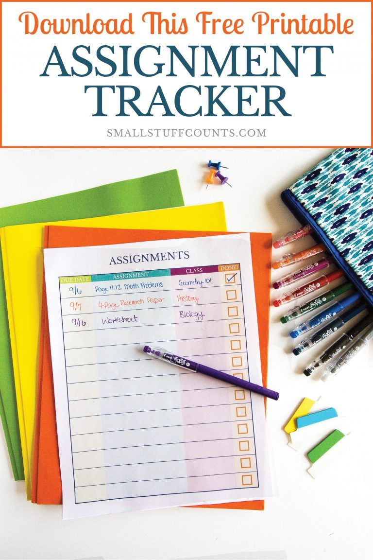 organizing homework with a free printable assignment
