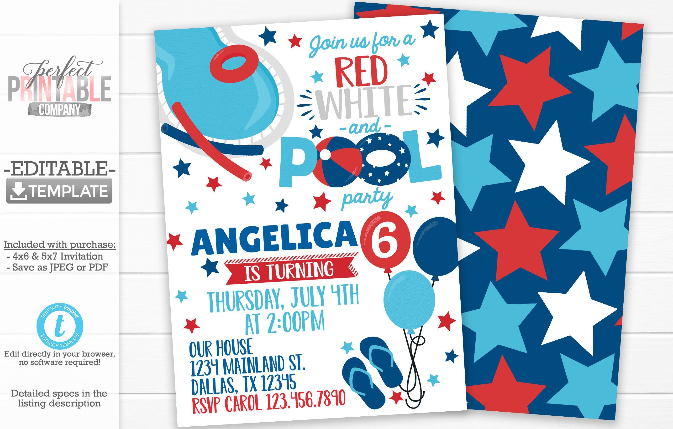 4th Of July Birthday Invitation 4th Of July Invite 4th Of Etsy Pool Party Invitations Birthday Invitations Birthday Party Invitations