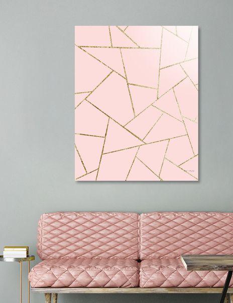 «Blush Pink Gold Geometric Glam #1 #geo #decor #art» Aluminum Print by Anita's & Bella's Art - Numbe