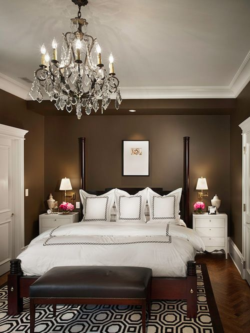 Houzz Chocolate Bedroom With Brown Walls Design Ideas Remodel Pictures