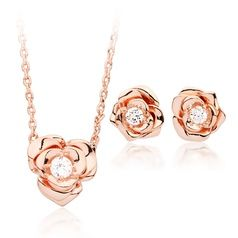 Petite Rose Necklace and earrings Rose Gold Plated