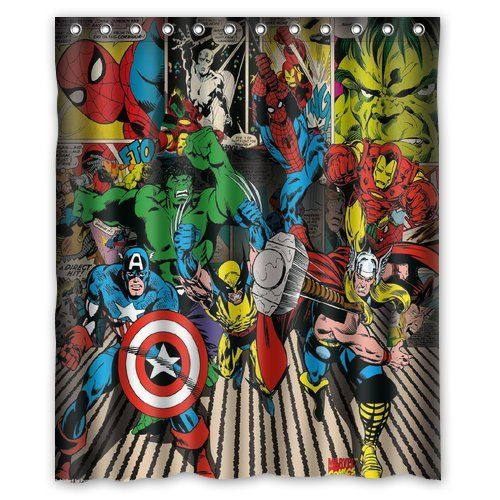 Robot Check Kids Shower Curtain Bathroom Collections Superhero Bathroom