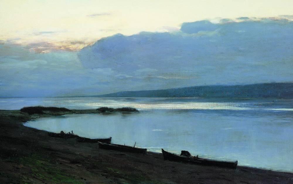 Isaac Levitan, Evening at Volga (1888). WikiPaintings.org - the encyclopedia of painting