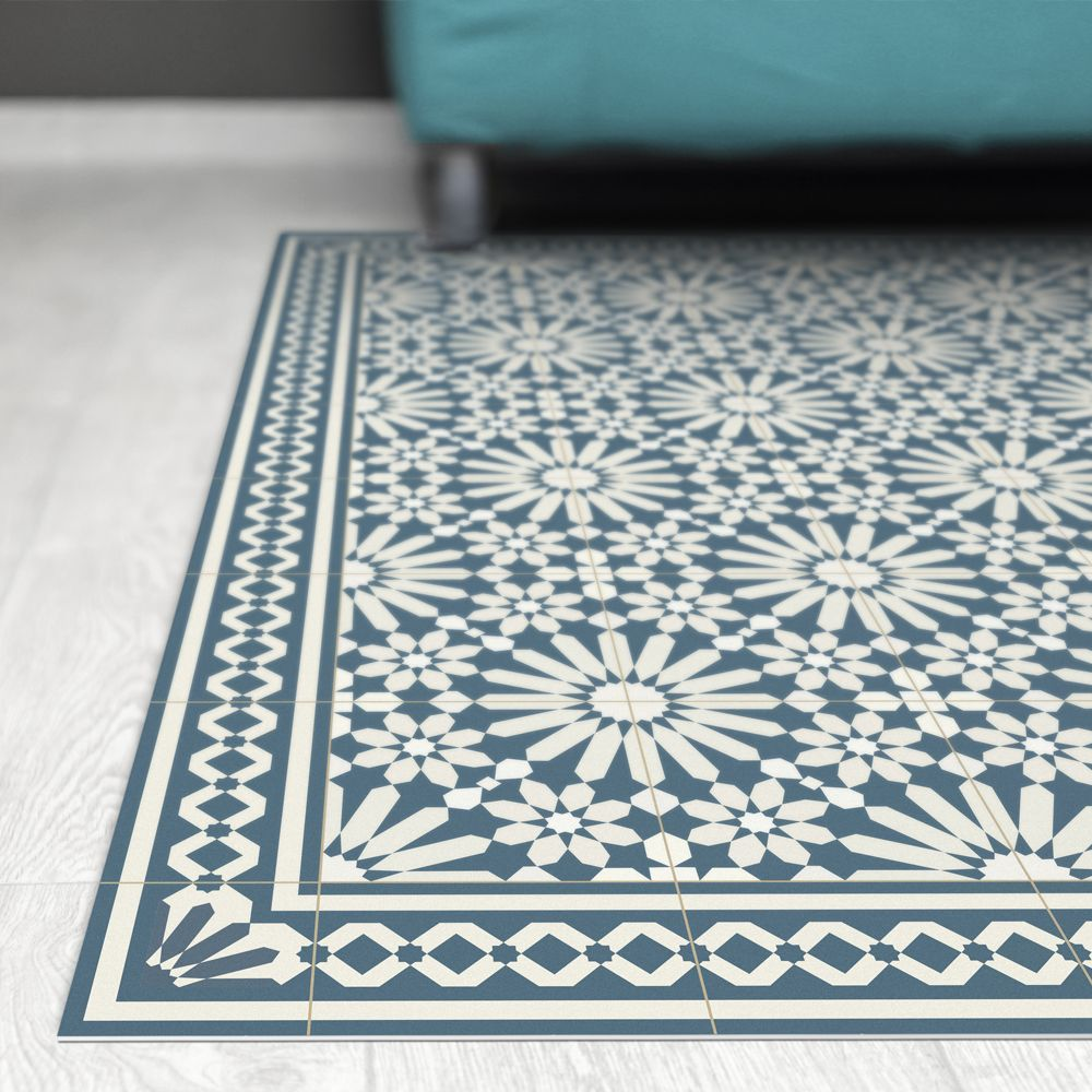 Vinyl Area Rug With Moroccan Tiles Design In Blue And Beige