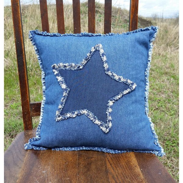 Rustic Patriotic Denim Pillow, Americana Star, Texas Star, Rag Style ❤  Liked On Polyvore Featuring Home, Home Decor, Throw Pillows, Denim Throw  Pillows, ...