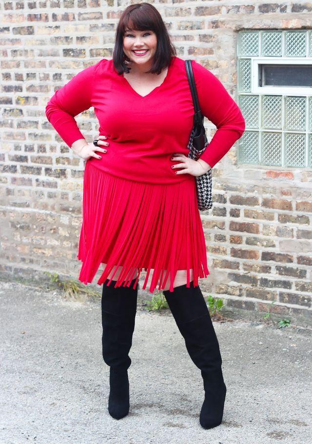 494fd923d009c Falling for Fringe In This Red Fringe Skirt from Lane Bryant (Style ...