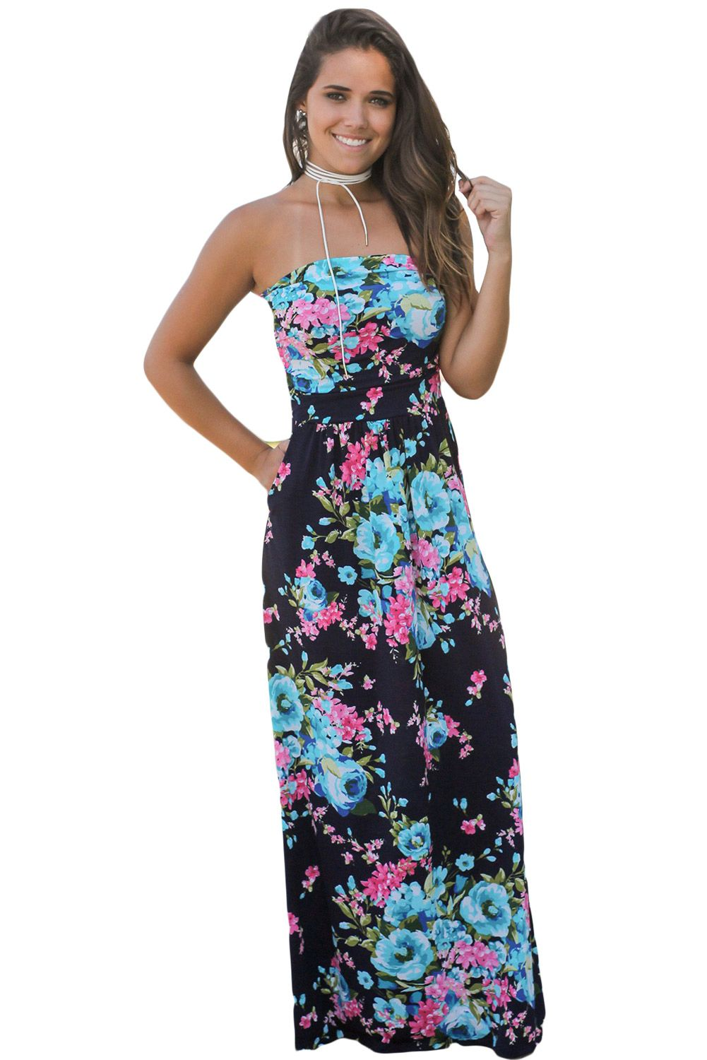 Navy Pink Floral Pockets Strapless Maxi Dress With Strapless Maxi Dress Cheap Maxi Dresses Boho Style Long Dresses [ 1500 x 1001 Pixel ]