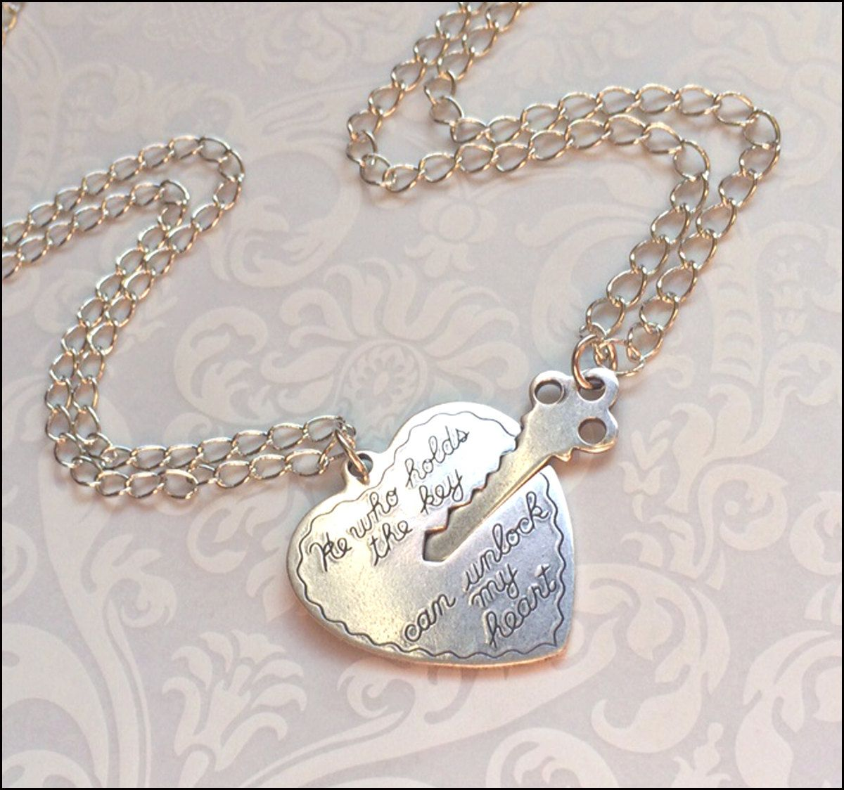 21ad325cf3 Key To My Heart Necklace~Couples Necklace, Boyfriend/Girlfriend Jewelry, He  Who Holds the Key NECKLACE SET Beautiful Chain His/Hers Couple