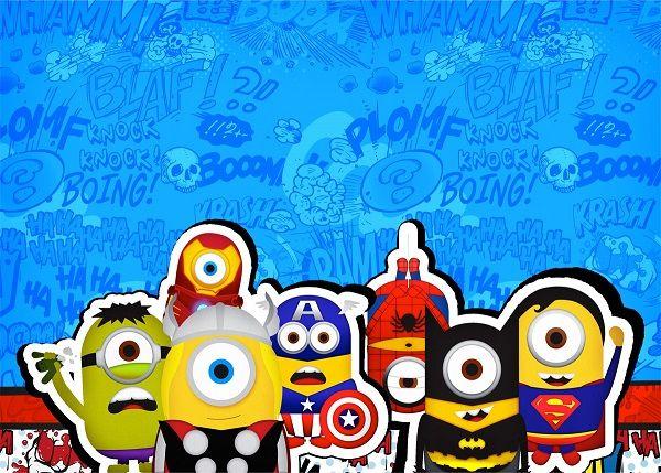 Minions Super Héroes Imprimibles Tarjetas De Cumpleaños