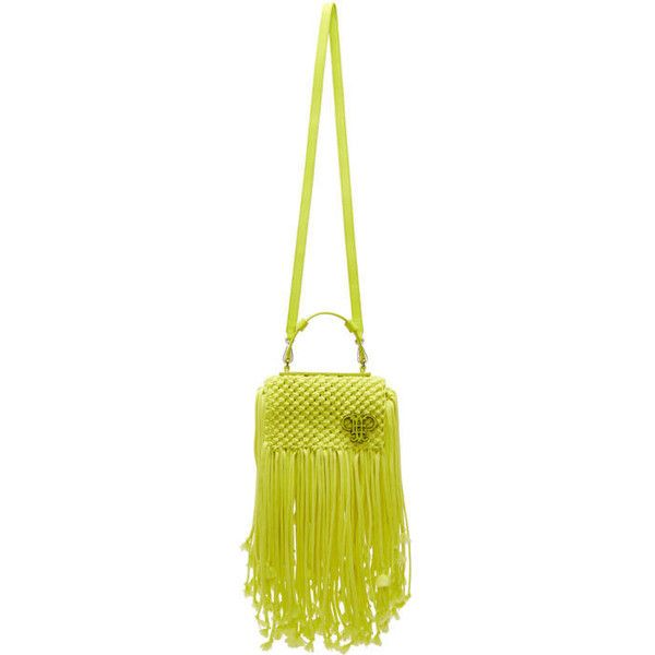 Emilio Pucci Yellow Fringed Logo Bag (€1.940) ❤ liked on Polyvore featuring bags, handbags, shoulder bags, yellow, leather shoulder bag, fringe leather handbags, white shoulder bag, white handbags and white leather purse