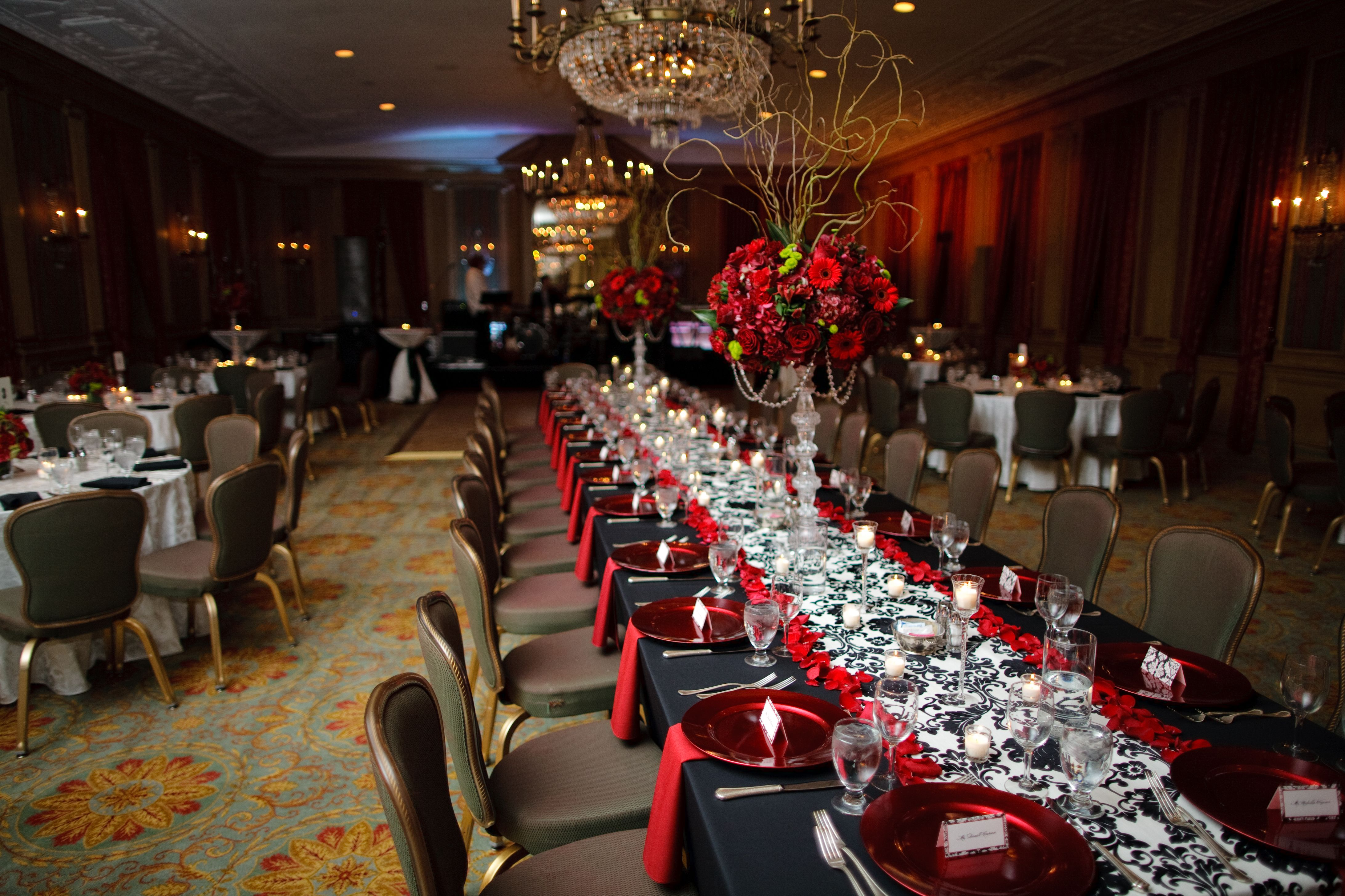Red And Black Reception Ideas