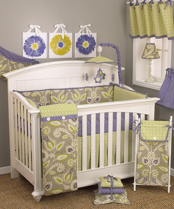 Periwinkle Crib Bedding Set by Cotton Tale Designs  #zulily. Too much altogether, but may a few accent colors with a lighter gray wall.