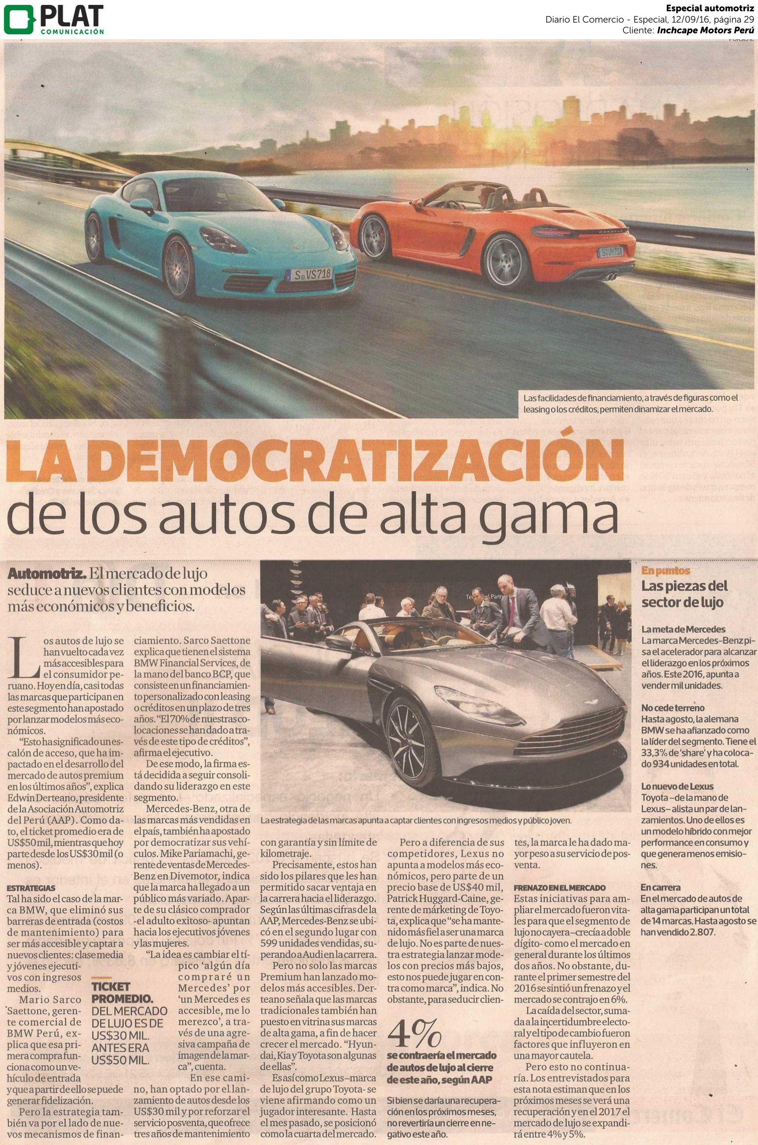 Inchcape Motors: BMW en especial automotriz en el suplemento Día1 del diario El Comercio de Perú (12/09/16)
