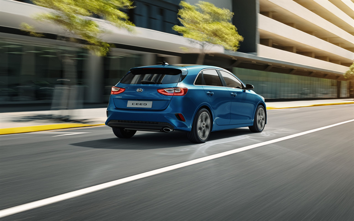 Download Wallpapers Kia Ceed 2018 New Blue Ceed Hatchback