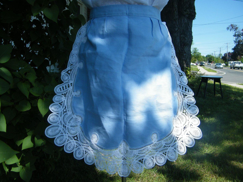 White apron lace trim - Vintage Handmade Linen Apron Blue With Hand Sewn Lace Trim 1950 S