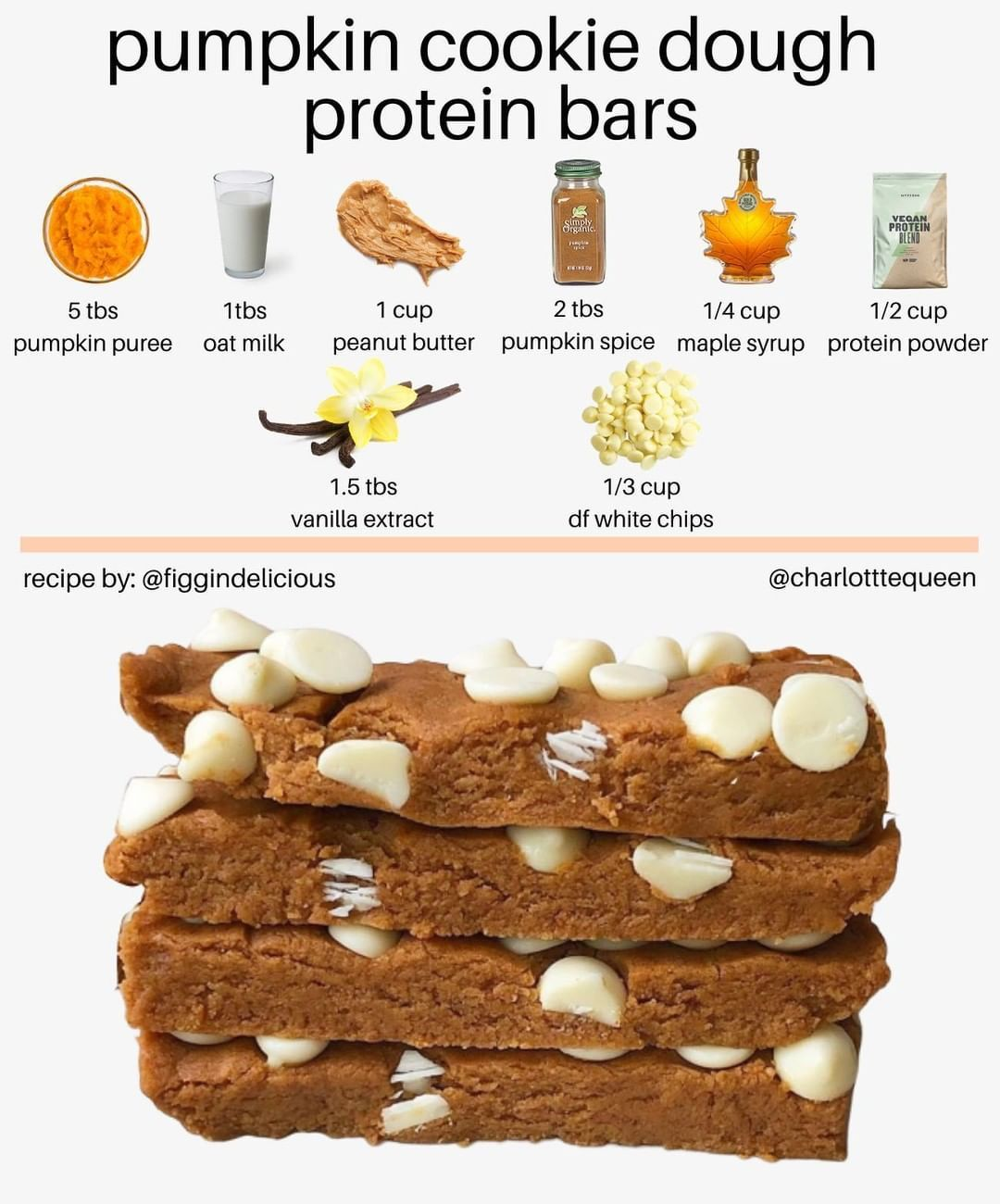 """Vegan Fitness & Nutrition Info on Instagram: """"Thanks to @charlotttequeen  PUMPKIN SPICE COOKIE DOUGH PROTEIN BARS  ⠀ ⠀ How. Good. Do. These. Look. � October May be over, but this…"""""""