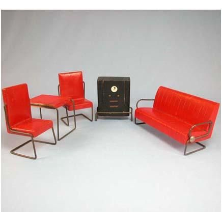 Lincoln Art Deco Doll House Miniature Living Room Furniture By J.L. Wright,  .
