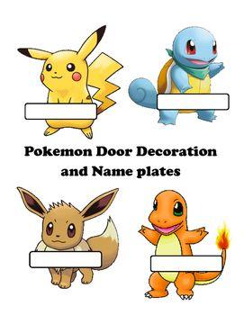 Pokemon door decorations- editable | School -beginning year