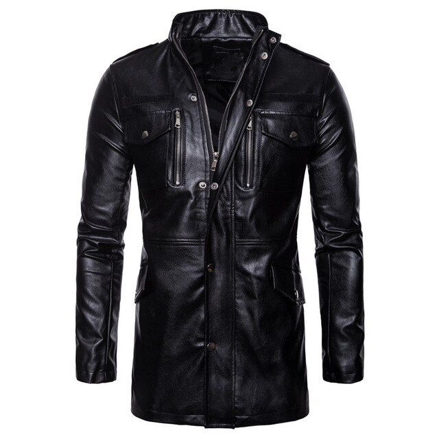 Solid Color Motorcycle Leather Coat Autumn Winter Stand Collar Slim Fit Warm Outwear Tops OSTELY Mens Jacket