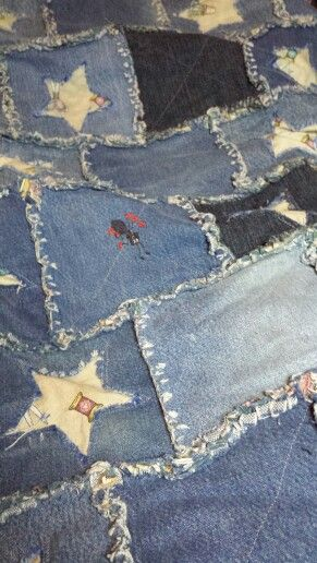 Recycled jean rag quilt