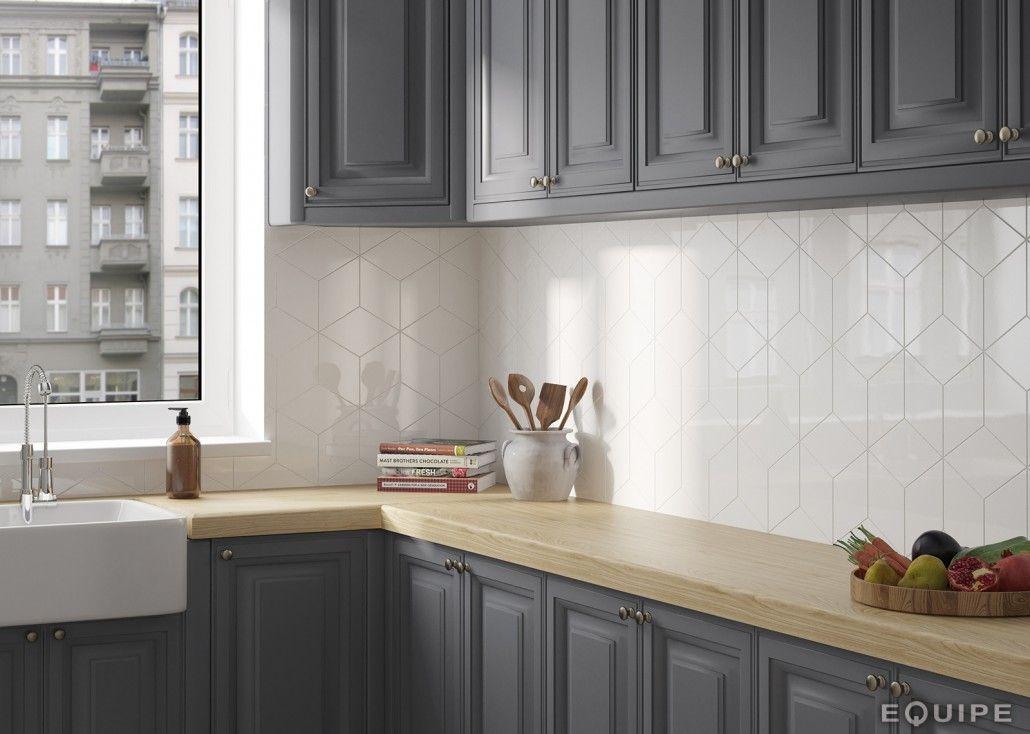 Rhombus Diamond Tile Backsplash Tile Ceramika In 2019 White