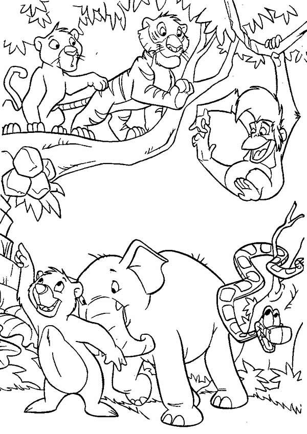 Happy All Jungle Residents In The Jungle Book Coloring Page Kids Play Color Coloring Books Jungle Coloring Pages Cartoon Coloring Pages